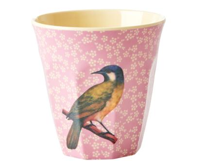 כוס מלמין טוטון תוכי רקע ורוד | RICE DK