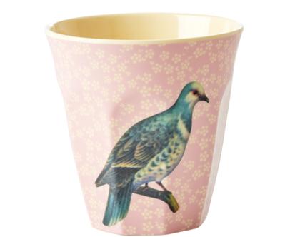 כוס מלמין טוטון תוכי רקע ורוד בהיר | RICE DK