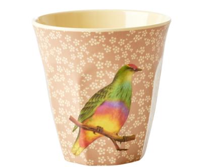 כוס מלמין טוטון תוכי רקע חום | RICE DK