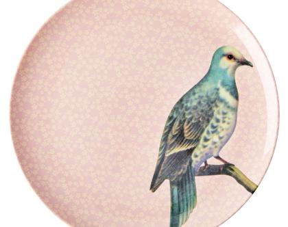 צלחת מלמין עיקרית ציפור רקע ורוד בהיר | RICE DK