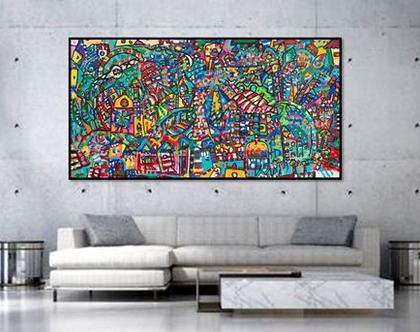 אמנות מקורית לבית, תמונה ענקית לעיצוב בית, תמונה לעיצוב לובי, גודל 200/100 ציור גדול של האמנית ענבר רייך, הדפס איכותי משולב צבע