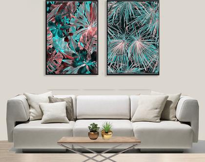 סט תמונות עלים אבסטרקט בטורקיז | Abstract leaves in turquoise| | תמונות מיוחדות לסלון | תמונות אבסטרקטיות