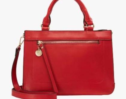 תיק יד/תיק צד בינוני בצבע אדום ANNA FIELD