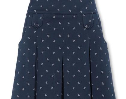 חצאית עד הברך בצבע כחול כהה עם הדפס פייזלי (אשלי)