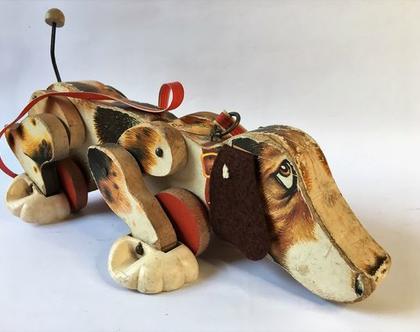 צעצוע גרירה וינטג' מעץ פישר פרייס שנת 1961