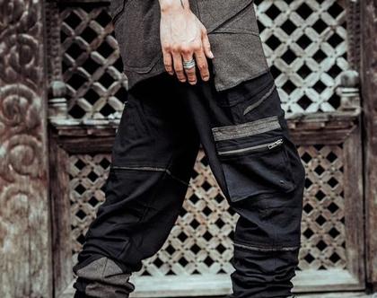 מכנסי גברים / מכנס כותנה רחבים עם כיסים