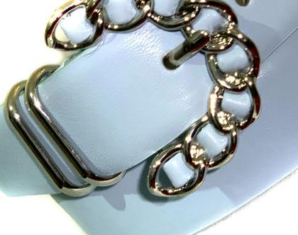 Steve Madden | חגורה תכלת אבזם מעוצב סטיב מאדן