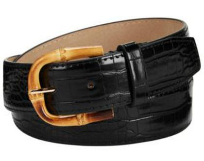 Steve Madden | חגורה שחורה אבזם עץ סטיב מאדן