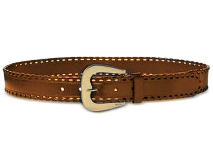 Ralph Lauren | חגורה חומה אבזם מעוצב ראלף לורן