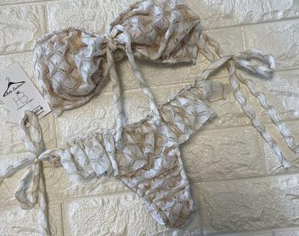 בגד ים מיסוני סטרפלס קיווץ בחזה תחתון מלמלה קשירות בצדדים