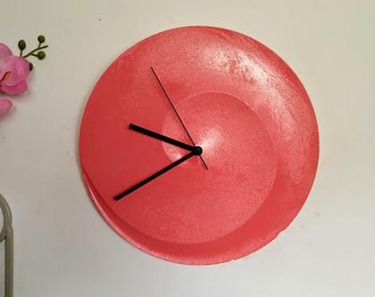 שעון בטון ספירלה צבע קורל (ורוד-כתום)