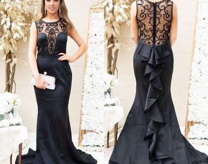שמלת ערב מקסי בשילוב שיפון