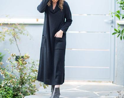 שמלת מקסי שחורה, שמלת מקסי חורפית, שמלת סריג מקסי, גלביה חורפית, שמלת סוודר לנשים, סריג גולף ארוך, סריג אוברסייז