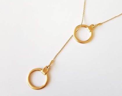 שרשרת מאזנייםבשילוב אבזם עגול בציפויי זהב מט/ שרשרת ארוכה/ שרשרת חוליות זהב ואבזם זהב מט