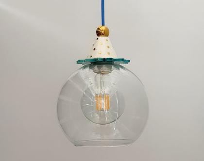 מנורת זכוכית שקופה - עיטור זהב - חוט חשמל צבעוני - מנורה לפינת אוכל - גוף תאורה מזכוכית - גוף תאורה למטבח - מנורה מיוחדת