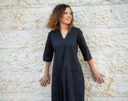 שמלת מקסי שחורה, שמלת קז'ואל לנשים, שמלה יפה ליום יום, שמלה שחורה ארוכה, שמלת בוהושיק, שמלה עם כיסים ושרוול 3/4