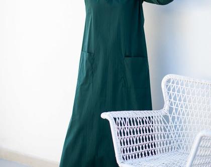 שמלת מקסי ירוקה, שמלת קז'ואל לנשים, שמלה יפה ליום יום, שמלה ארוכה, שמלת בוהושיק, שמלה עם כיסים ושרוול 3/4