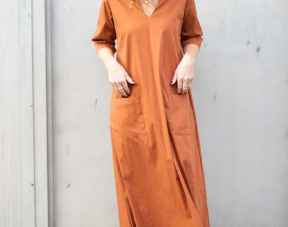 שמלת מקסי קאמל, שמלת קז'ואל לנשים, שמלה יפה ליום יום, שמלה ארוכה, שמלת בוהושיק, שמלה עם כיסים ושרוול 3/4