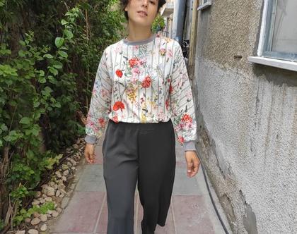 מכנס גומי רחב צבע פלדה