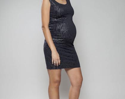 שמלת מיני נוצצת להריון, שמלת ערב שחורה, שמלה צמודה, שמלת סטאר