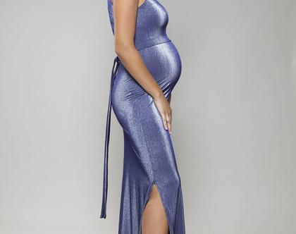 שמלת מקסי נוצצת להריון, שמלת ערב מהממת, שמלה צמודה, שמלת אוליב
