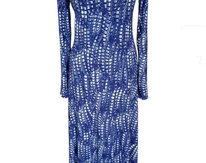 שמלת מקסי מתרחבת שיבורי כחולה