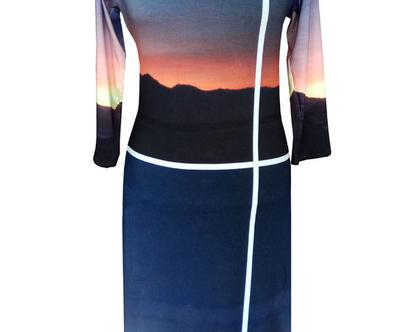 שמלה בהדפס שקיעה