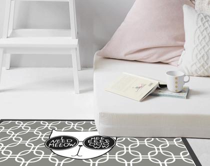 שטיח ויניל | שטיח pvc | שטיח לחדר ילדים | מתנה לאוהבי חתולים | שטיח פי.וי.סי | שטיח למטבח | שטיח אפור | שטיח pvc לחדר