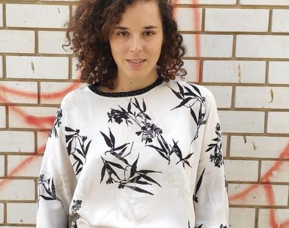 חולצת T שרוולים ארוכים הדפס יפני