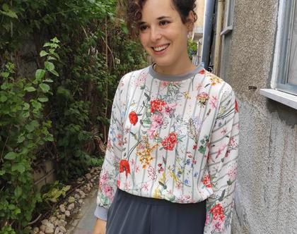 חולצת T הדפס פרחים
