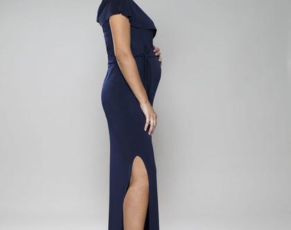 שמלת מקסי להריון, שמלת ערב נוחה להנקה, שמלה עם מחשוף מעטפת, שמלת מריאן