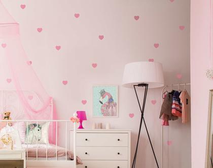 מדבקות לקיר לבבות ורודים, מדבקות קיר, מדבקות לעיצוב החדר, מדבקות מעוצבות, מדבקות לב, עיצוב חדרי ילדים