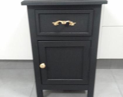 שידה מגירה ודלת צבע שחור ידיות זהב (אפשר בכל צבע)