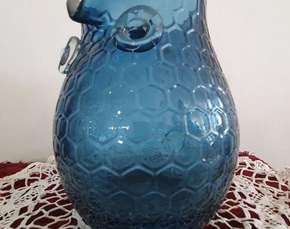 כד זכוכית כחולה ינשוף /תוצרת אנגליה