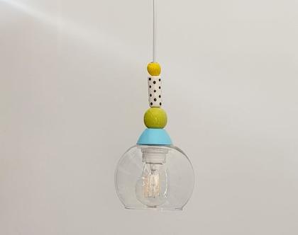 מנורת זכוכית קטנה - מנורה צבעונית - מנורה למסדרון - תאורה לשירותי אורחים - גוף תאורה קטן - גוף תאורה מזכוכית - גוף תאורה צבעוני - גוף תאורה
