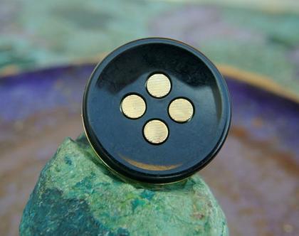 """כפתורי פלסטיק שחורים עם נקודות זהב, כפתורי וינטג', גודל כפתור 35מ""""מ, כפתורים גדולים במיוחד"""