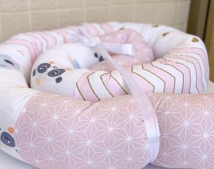 נחשוש | נחשוש 2 מטר | נחשוש לתינוקת | נחשוש למיטת תינוק |מגן ראש | נחשוש חיות ורוד לבן זהב