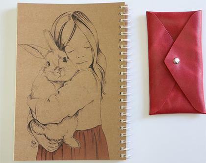 מחברת אישית , סקצ'בוק , מחברת ציור , מחברת מאוירת ילדה עם ארנב