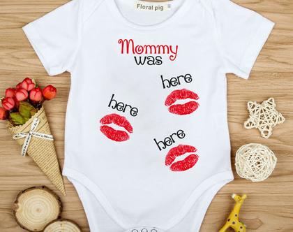 """בגד גוף לתינוק """"אמא הייתה פה"""" בעיצוב אישי"""
