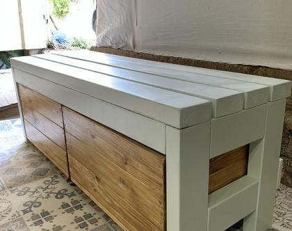 ספסל אחסון - זפסל עץ מעוצב בעל 2 תאים שליפים מתניידים על גלגלים - אורך 120 סמ