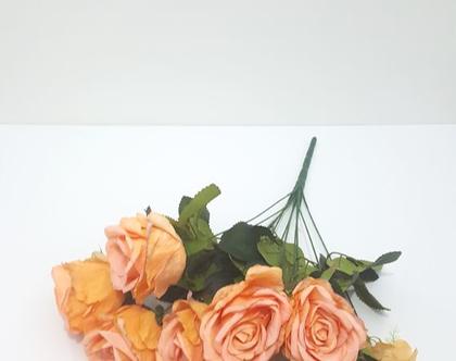 בוקט ורדים מלאכתי כתום / טורקיז