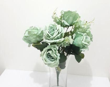 בוקט ורדים מלאכתי טורקיז/ כתום