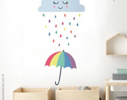 מדבקת קיר טיפות גשם | מדבקות קיר לחדרי ילדים | מדבקות קיר טיפות | מדבקות קיר לעיצוב החדר | מדבקות קיר ענן | מדבקות קיר עננים