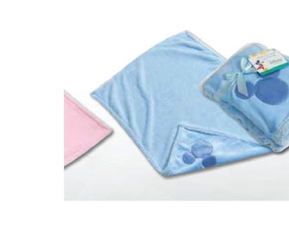 שמיכת תינוק פלנל כחול - מיקי