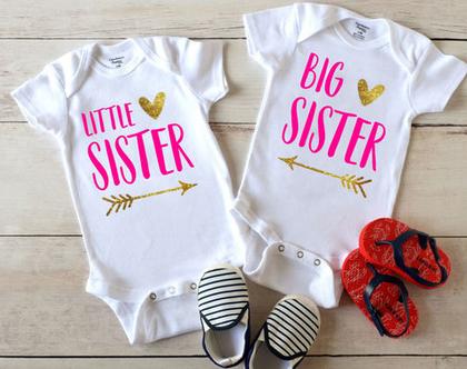 """בגדי גוף לתינוקות """"אחות גדולה אחות קטנה"""" בעיצוב אישי"""