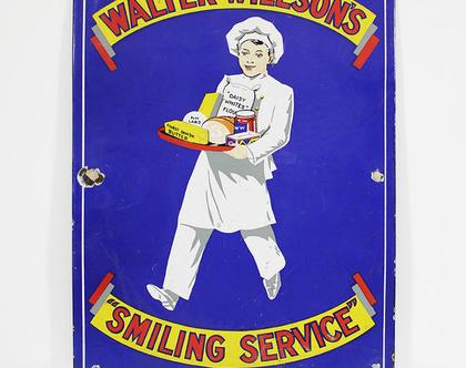 שלט אמייל וינטאג׳ נדיר, שלט מעוצב למסעדה, שלט למטבח