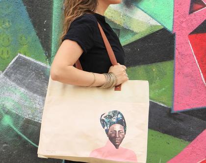 תיק צד מעוצב, תיק כותנה קנבס, תיק שק, תיק מודפס, אשה טיבטית, תיק טבעי, תיק נשים, תיק מיוחד