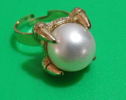 טבעת גולדפילד וינטג' מתכת פליז נחושת לא כסף מידה 8 מעוצבת אבן דמוי פנינה נדירה מיוחדת במינה תכשיט מתנה