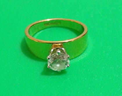 טבעת גולדפילד 14k חתומה וינטג' מתכת פליז נחושת לא כסף מידה 8 מעוצבת אבן נדירה מיוחדת במינה תכשיט מתנה