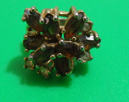 טבעת גולדפילד קוקטייל וינטג' מתכת פליז נחושת לא כסף מידה 6 מעוצבת אבן נדירה מיוחדת במינה תכשיט מתנה